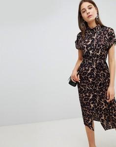 Платье-рубашка миди с леопардовым принтом New Look - Черный