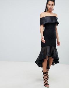 Платье со спущенными плечами и контрастной отделкой The 8th Sign - Черный