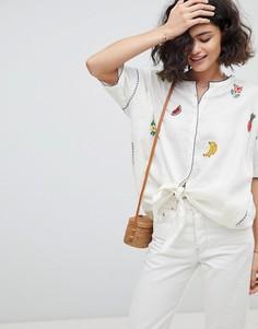 Блузка с вышивкой Intropia - Кремовый
