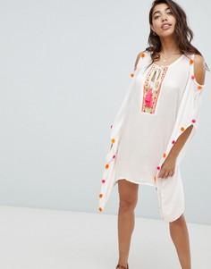 Пляжное платье с вырезами на плечах и неоновыми помпонами Anmol - Белый