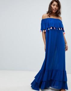 Пляжное платье макси с открытыми плечами и цветными помпонами Anmol - Синий