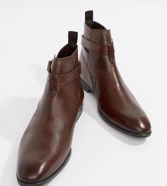 Коричневые кожаные ботинки челси для широкой стопы с ремешками ASOS DESIGN - Коричневый