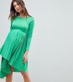 Плиссированное платье миди с длинными рукавами ASOS DESIGN Maternity - Зеленый