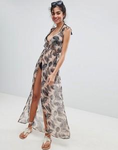Пляжное платье макси с боковым разрезом и пальмовым принтом South Beach - Розовый