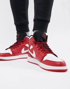 Красные кроссовки средней высоты Nike Air Jordan 1 554724-605 - Красный