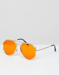 Солнцезащитные очки-авиаторы в шестиугольной оправе с цветными стеклами 7X - Оранжевый