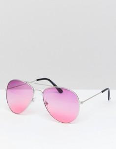 Солнцезащитные очки-авиаторы с цветными стеклами 7X - Фиолетовый
