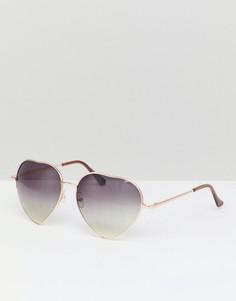 Солнцезащитные очки с оправой в форме сердца 7X - Коричневый