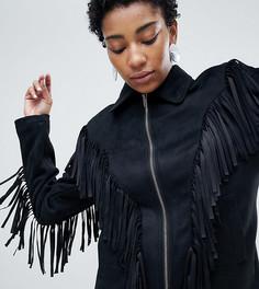 Куртка из искусственной замши с бахромой ASOS DESIGN Tall - Черный