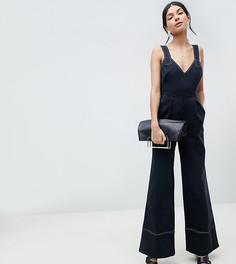 Саржевый комбинезон с широкими штанинами и завязками ASOS DESIGN Tall - Черный