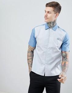 Синяя рубашка с короткими рукавами и полосками Fred Perry Riviera - Синий
