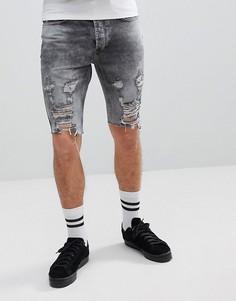 Рваные джинсовые шорты зауженного кроя Religion - Серый