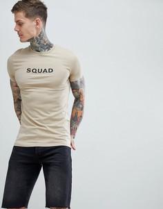Обтягивающая футболка с принтом ASOS DESIGN - Бежевый
