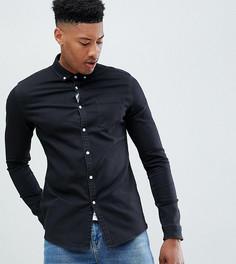 Эластичная облегающая джинсовая рубашка черного цвета ASOS DESIGN Tall - Черный