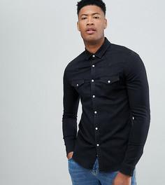 Черная джинсовая рубашка зауженного кроя в стиле вестерн ASOS DESIGN Tall - Черный