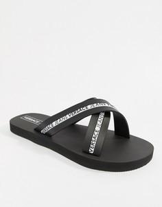 Черные шлепанцы с перекрещенными ремешками и логотипом Versace Jeans - Черный