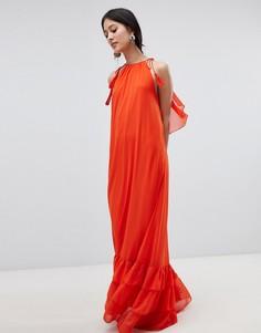 Платье макси с халтером и ярусной отделкой Y.A.S - Оранжевый