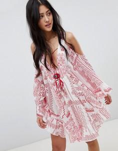 Пляжное платье с открытыми плечами и принтом ASOS DESIGN - Мульти