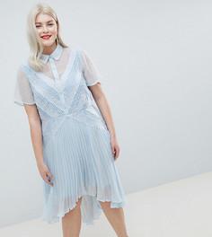 Платье-рубашка с кружевом ASOS DESIGN Curve - Синий