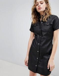 Кожаное платье в стиле вестерн Goosecraft - Черный