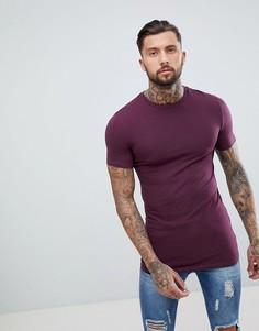 Длинная обтягивающая футболка с круглым вырезом ASOS DESIGN - Красный