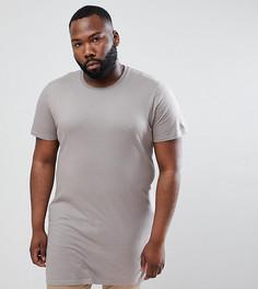 Бежевая удлиненная футболка ASOS DESIGN Plus - Бежевый