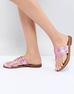 Кожаные сандалии металлик с ремешками Pieces - Розовый