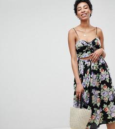 Летнее платье миди с цветочным принтом ASOS DESIGN Tall - Мульти