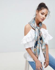 Атласный шарф с принтом ASOS DESIGN - Черный