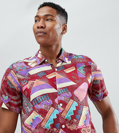 Рубашка с короткими рукавами и абстрактным принтом Reclaimed Vintage Inspired - Красный