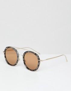 Солнцезащитные очки в черепаховой оправе с планкой сверху PrettyLittleThing - Коричневый