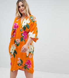 Жаккардовое платье миди с широкими рукавами и цветочным принтом ASOS DESIGN Curve - Мульти