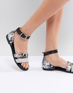 Кожаные сандалии со змеиным рисунком Suncoo - Черный