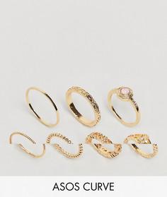 7 кольца с филигранью и искусственным розовым кварцем ASOS DESIGN Curve - Золотой