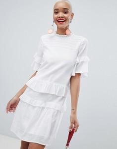 Свободное платье с оборками Pieces - Белый