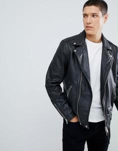 Черная кожаная байкерская куртка AllSaints - Черный