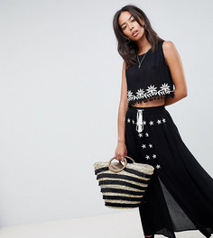 Комбинируемая юбка с вышивкой и кисточками Glamorous Tall - Черный