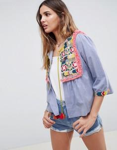 Куртка из шамбре с вышивкой и кисточками Glamorous - Синий