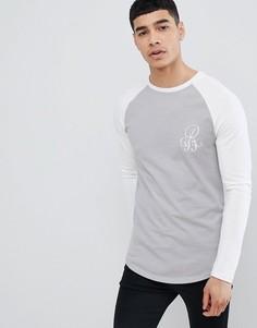 Обтягивающая футболка с рукавами реглан River Island - Светло-бежевый