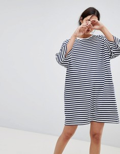 Платье-футболка в стиле oversize в полоску Kowtow - Мульти