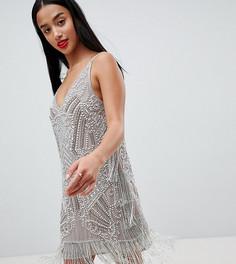 Платье мини на бретельках ASOS EDITION Petite - Серый