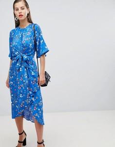 Платье миди с цветочным принтом, рукавами-кимоно и поясом Y.A.S - Мульти