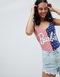 Боди с принтом американского флага и надписью Barbie Missguided - Мульти