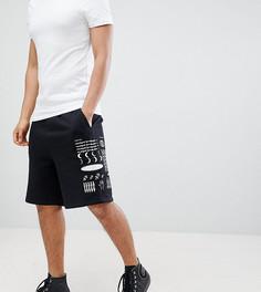 Черные шорты с принтом логотипа Crooked Tongues - Черный