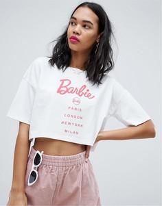 Укороченная футболка с принтом Barbie Missguided - Белый