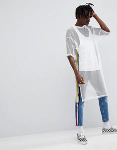 Белая сетчатая oversize-футболка удлиненного кроя с отделкой лентой ASOS DESIGN - Белый