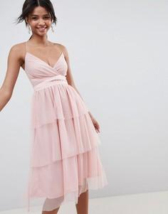 Ярусное платье миди из тюля ASOS DESIGN - Розовый