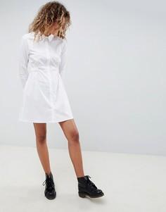 Хлопковое платье-рубашка со сборками на талии ASOS DESIGN - Белый