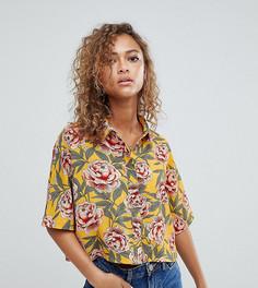 Укороченная рубашка с тропическим цветочным принтом Wednesdays Girl - Желтый