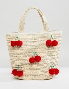Бежевая соломенная сумка Monki - Бежевый